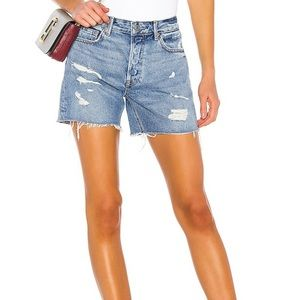 GRLFRND Denim Ripped Shorts